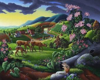 Deer Chipmunk Wildlife Rustic Landscape Plush Fleece Blanket, Sherpa Fleece Blanket, Appalachian Farm Art Throw Blanket, Folk Art Americana