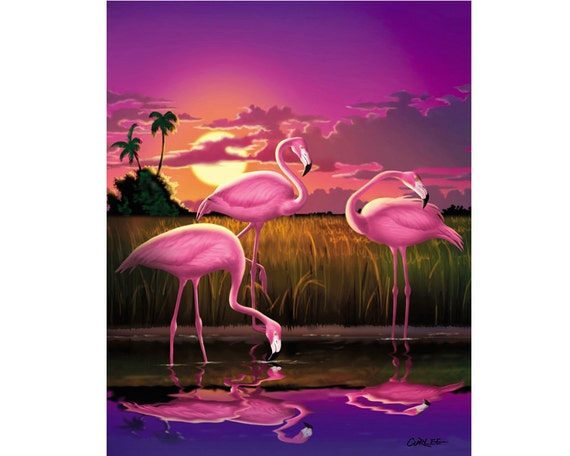 FLAMINGOS AND SUNSET PHOTO PICTURE PRINT ON FRAMED CANVAS WALL ART HOME DECOR