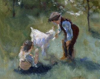 Our Pet Goat 8x10 Canvas Print of Original Oil Painting by Kathleen Farmer Denver Artist