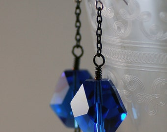 Cobalt Blue Crystal and Chain Earrings