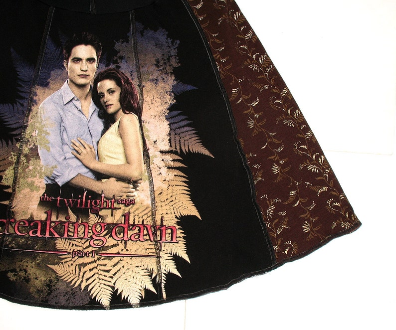 Twilight - Upcycled Tee Skirt Womens Med Large tshirt skirt - Breaking Dawn  black brown mocha upcycled clothing Bella Edward vampire unique
