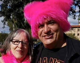 Hot Neon Pink Pussy faux fur Kitty hat - Pink Pussy hat - fleece lined dark  pink - Womens March Washington DC Impeachment March