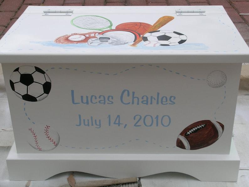 Baby Keepsake Box Chest Memory Box personalized  Sports Theme image 0