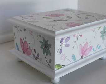 Baby Keepsake Box Memory Box hand painted personalized best unique new baby shower gift watercolor floral