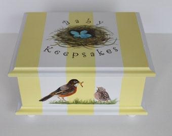 Baby Keepsake Box Baby Memory Box neutral- yellow stripe bird nest hand painted personalized baby gift