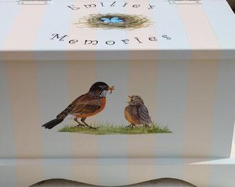 Baby Keepsake Box Baby Keepsake Chest Bird nest baby memory box hand painted personalized best new unique baby shower gift neutral