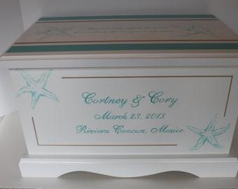 Wedding keepsake box wedding keepsake chest Destination Beach Wedding memory Starfish Box personalized wedding gift hand painted card box