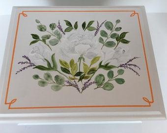 Wedding Keepsake Box Memory Box white roses and greenery Irish wedding eucalyptus lavender hand painted personalized gift