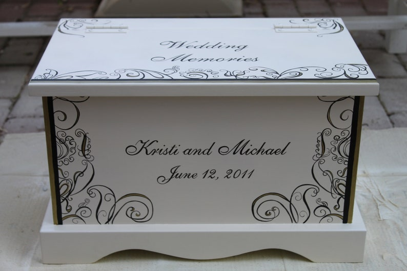Wedding keepsake chest Black and gold fleur wedding memory box image 0