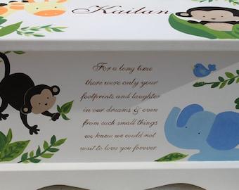 baby keepsake box baby keepsake chest Monkeying Around memory box personalized baby gift hand painted keepsake box