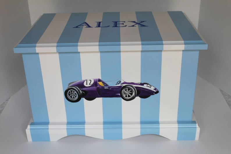 Baby Keepsake Box   Vintage race car blue and white stripe image 0