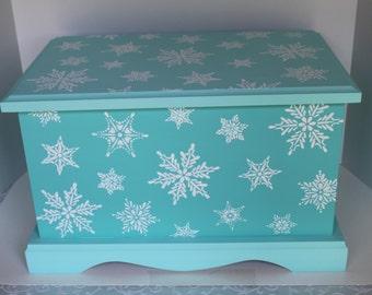 Turquoise Snowflakes Holiday Wedding Keepsake Chest Memory Box personalized wedding gift hand painted card box
