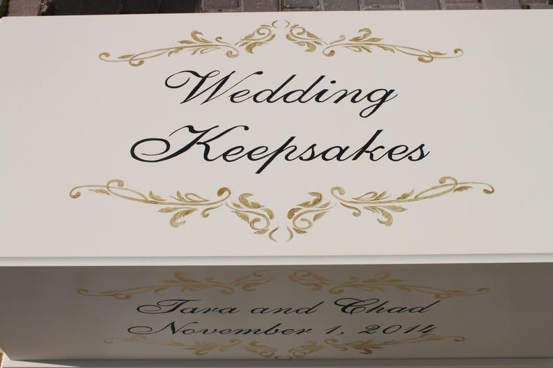 Wedding keepsake hope chest  Gold and black fleur  storage image 0
