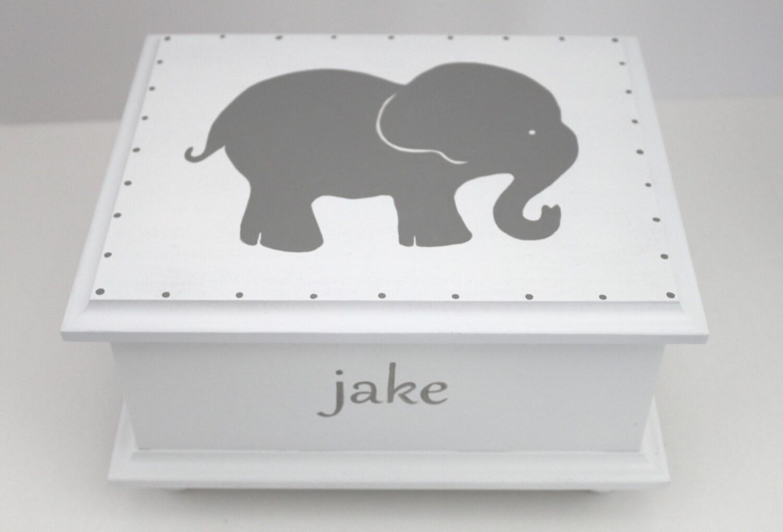 Baby keepsake box Grey Gray Elephant Baby Keepsake Memory ...