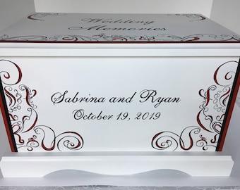 Wedding keepsake box  Red and Black Scroll Fleur Wedding Keepsake Chest memory Box personalized wedding shower gift hand painted card box