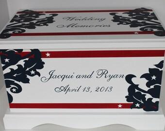 Wedding keepsake box Star Spangled Red White and Blue Wedding Keepsake Chest memory Box personalized wedding gift hand painted card box