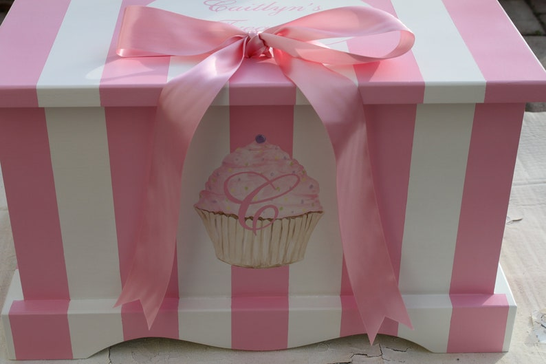 Baby Keepsake Chest Baby Memory Box  girl Pink Stripe image 0