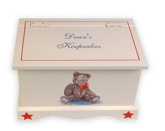 Baby Keepsake Box Chest Memory Box personalized - Classic Teddy Bear Baby boy shower gift hand painted