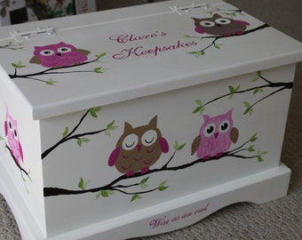 Baby Keepsake box chest - baby memory box personalized - Pink Owls baby gift hand painted