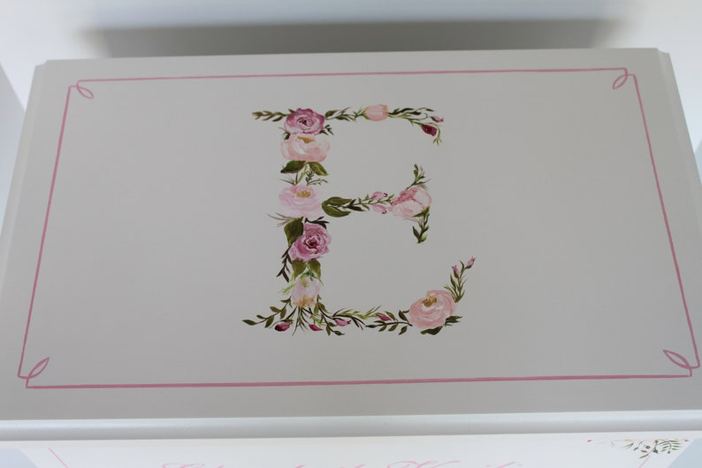 Baby Keepsake Box Chest Memory Box personalized  Floral image 0