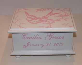 Baby Keepsake Box Baby memory box for girl Pink Bird Toile hand painted personalized baby gift