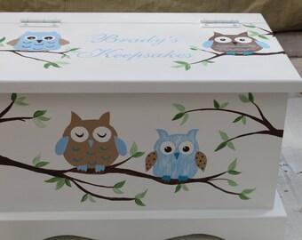 Baby keepsake box Owl Baby Keepsake Chest Box personalized baby gift hand painted