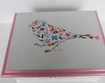 Baby keepsake box - Floral Bird Baby Keepsake Memory Box personalized baby girl gift hand painted baby shower gift