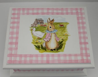 Baby Keepsake Box Bunny with farm animals pink gingham Baby Memory Box personalized best new unique baby girl shower gift hand painted