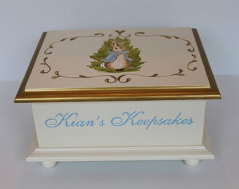 Baby keepsake box Bunnies In The Garden Baby Memory Box personalized baby gift hand painted for boy - blue