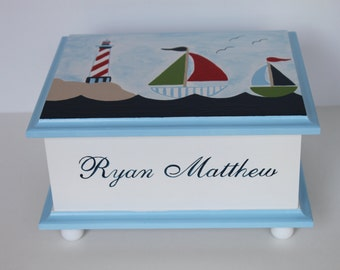 Personalized Baby Keepsake Box Memory Box lighthouse & sailboats nautical baby gift hand painted best new unique baby shower gift