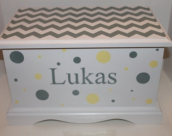 Baby Keepsake Box Baby Memory Chest  personalized - Chevron and polka dots - grey and yellow hand painted baby boy shower gift