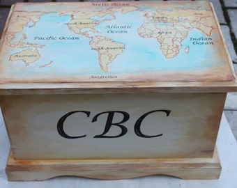 Baby keepsake box Old World Map - baby keepsake chest memory box personalized best new unique baby shower gift hand painted