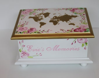 Baby keepsake box  Baby Memory Box watercolor floral world map personalized baby girl shower gift hand painted