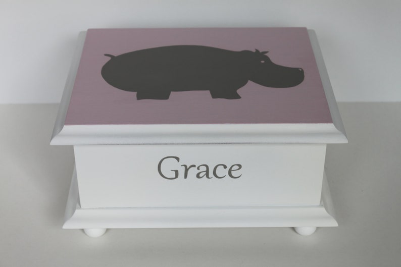 Baby keepsake box Grey Hippo Baby Memory Box personalized baby image 0