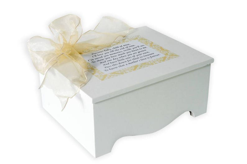 Sample Sale Closeout Baby Keepsake Box Baby Memory Box Precious Baby Poem Ivory Damask Personalized Baby Neutral Gift Best Baby Shower Gift