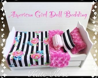 American girl doll bedding set **Rose & Stripes**
