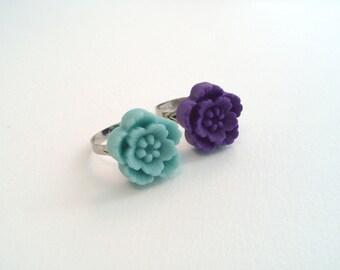 Adjustable Flower & Heart Rings - Light Blue, Purple