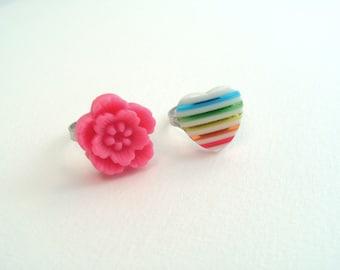 Adjustable Flower & Heart Rings - Bright Pink, Rainbow