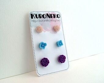 Flower Post Earring Set - Pale Pink, Sky Blue, Purple