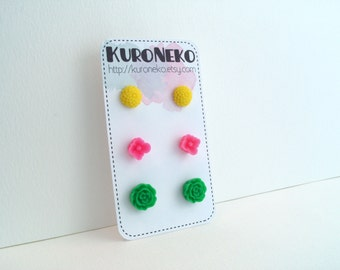 Flower Post Earring Set - Yellow, Bright Pink, Bright Green