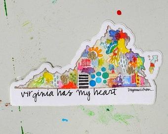 virginia has my heart - 6 x 3.75 inch vinyl weatherproof sticker