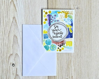 set your heart's intent enclosure card - 2.75x3.75 inches - blank reverse