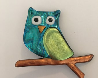 Turquoise owl pin