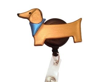 Weiner dog retractable ID badge holder, Dachshund ID badge holder, badge reel