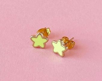 Mini Star Earrings • Yellow