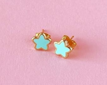 Mini Star Earrings • Teal