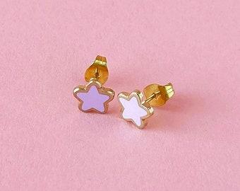 Mini Star Earrings • Purple