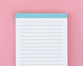 Wavy Lined Blue and Green Notepad