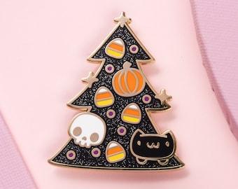 Halloween Cat Tree Enamel Pin - Hard Enamel Pin Spoopy Lapel Pin Black Cat Pin Halloween Tree Pin Black Halloween Tree Pin Glitter Pin