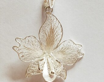 Orchid pendant etsy exquisite vintage 925 sterling silver delicate filigree orchid pendant charm bead 44x35mm 1pc aloadofball Choice Image